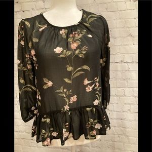 Woman's Sheer Flowy top, size small, floral print
